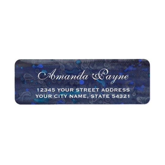Blue Wedding Drizzle Return Address Label