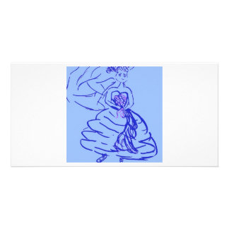 Blue Wedding Gown Bride Photo Greeting Card