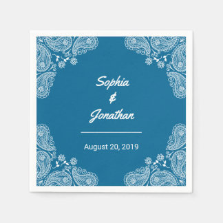 Blue Wedding I Hand Drawn Paisley Wedding Napkin Disposable Napkins