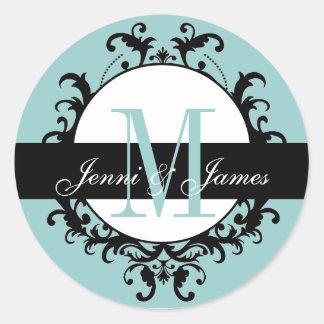 Blue Wedding Monogram Names Ornate Label