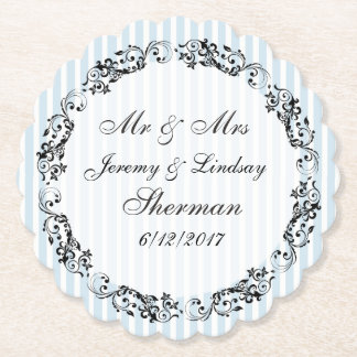 Blue Wedding Personalized Custom Paper Coaster