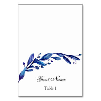 Blue wedding place card. Winter seating card