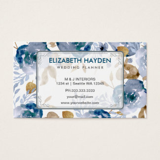 Blue wedding planner Vintage Floral businesscard