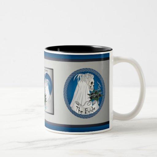 Blue Wedding Skulls Mug