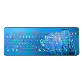 Blue wet Rose background Wireless Keyboard