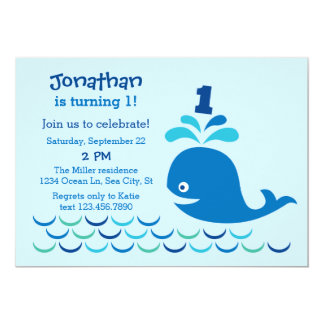Blue Whale 1st Birthday Invitation