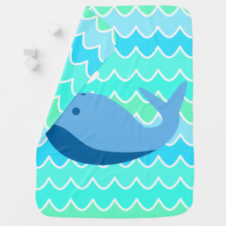 Blue Whale and Waves Baby Blanket
