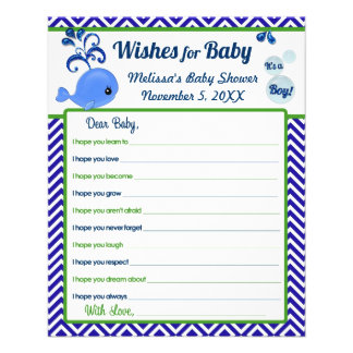 Blue Whale Baby Shower Wishes for Baby Advice Flyer