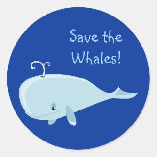 Blue Whale Classic Round Sticker