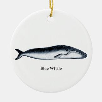 Blue Whale Illustration (titled) Round Ceramic Decoration