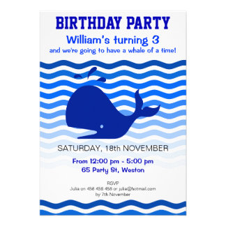 Blue whale in the deep blue sea party invite