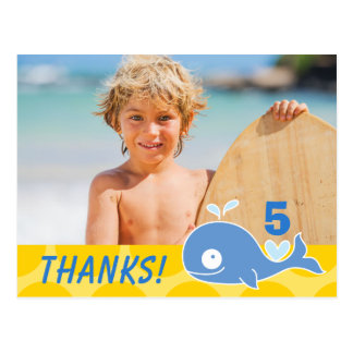 Blue Whale Kid's Birthday Photo Thank You Postcard