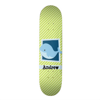 Blue Whale; Lime Green & White Stripes Custom Skate Board