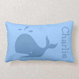 Blue whale lumbar pillow with custom baby name