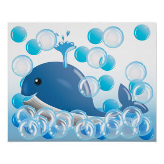 Blue whale nursery wall art