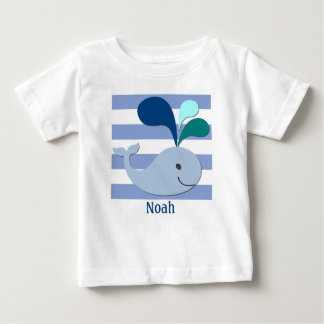 Blue Whale on Blue Striped Background Shirt