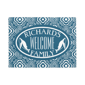 Blue Whale Peddler Welcome Mat