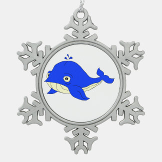 Blue whale pewter snowflake decoration