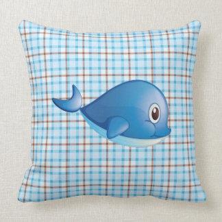 Blue Whale Plaid Cotton Pillow