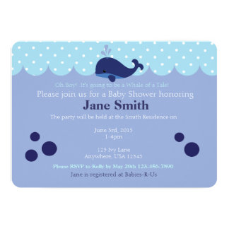 Blue Whale Themed Baby Boy Shower Invitatio Card