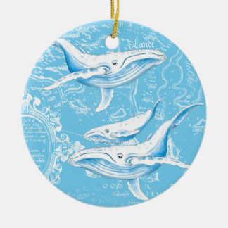 Blue Whales Family Ceramic Ornament