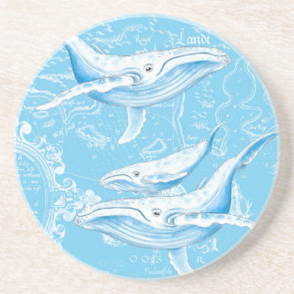 Blue Whales Family Drink Coasters