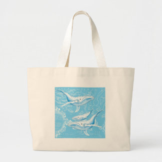 Blue Whales Family Large Tote Bag