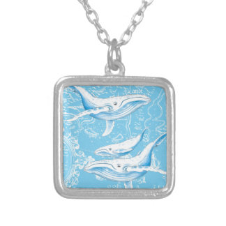 Blue Whales Family Silver Plated Necklace