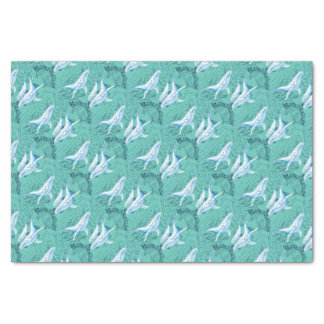 Blue Whales Family Teal Tissue Paper