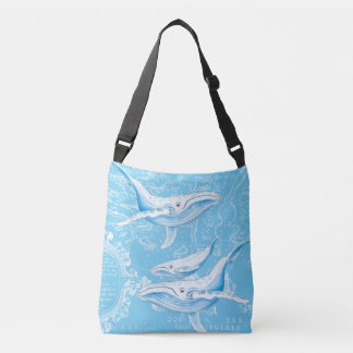 Blue Whales Family Vintage Crossbody Bag