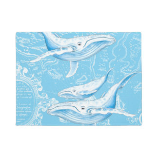 Blue Whales Family Vintage Doormat