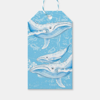 Blue Whales Family Vintage Gift Tags