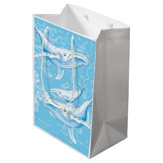 Blue Whales Family Vintage Medium Gift Bag