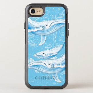 Blue Whales Family Vintage OtterBox Symmetry iPhone 8/7 Case