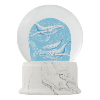 Blue Whales Family Vintage Snow Globe