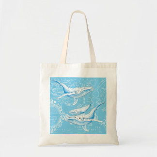 Blue Whales Family Vintage Tote Bag