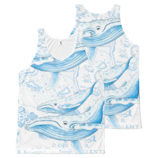 Blue Whales Family White All-Over Print Singlet