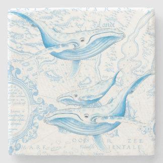 Blue Whales Family White Stone Coaster