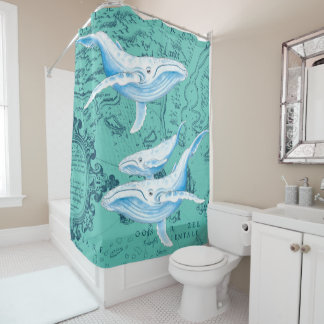 Blue Whales Teal Map Shower Curtain