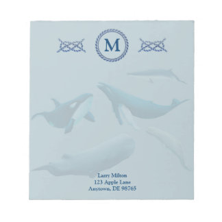 Blue Whales with Monogram Notepad