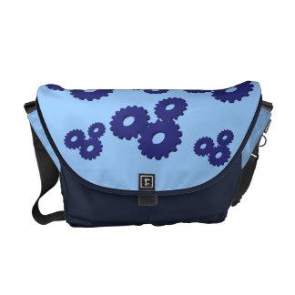 Blue Wheels circles theme messenger bag