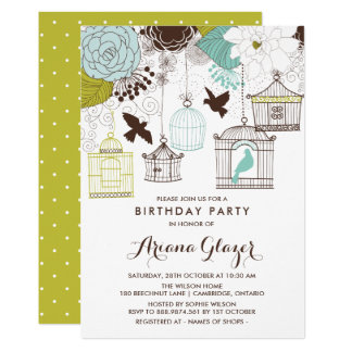 Blue Whimsical Birdcages Birthday Party Invitation