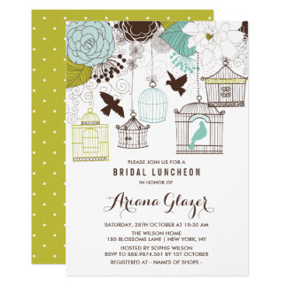 Blue Whimsical Birdcages Bridal Luncheon Card