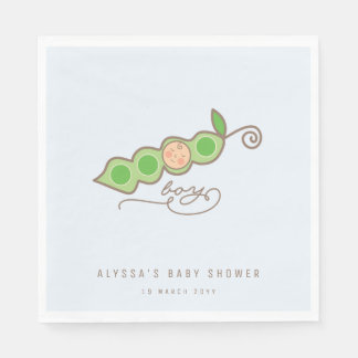 Blue Whimsical Pea in a Pod Boy Baby Shower Party Paper Napkins
