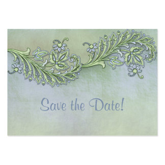 Blue Whisper Floral Save The Date Business Card Template