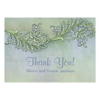 Blue Whisper Floral Thank You Pack Of Chubby Business Cards
