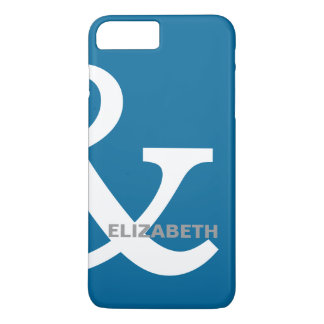 Blue White Ampersand Lovers Names Matching Right iPhone 8 Plus/7 Plus Case