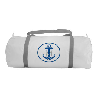 Blue White Anchor and Monogram Gym Bag
