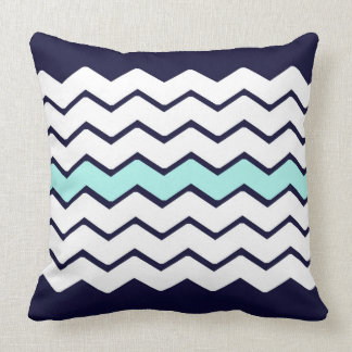 Blue White and Aqua Zigzag Pillow