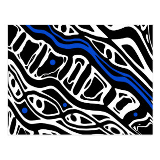 Blue, white and blac abstract art postcard